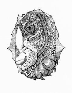 [1#korean fairytale] [1#해와달이된오누이] 호랑이는 어머니의 두건을 쓰고 오누이의 집에 어슬렁어슬렁 찾아갔어요. #일러스트레이터 #일러스트 #일러스트레이션 #손그림 #그림 #펜화 #드로잉 #drowing #illustration #illust #illustrator #lineart #art #artworks #패턴 #삽화 #panart #doodle #mandala #kids #fairytale #mandala #character #캐릭터 #animal #tiger #호랑이