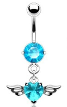 14g Dangling Aqua Heart Sexy Belly Button Navel Ring Dangle Body Jewelry Piercing with Angel Wings and Surgical Steel Bar 14 Gauge 3/8 Nemesis Body JewelryTM by Nemesis Body Jewelry - Belly Button Rings