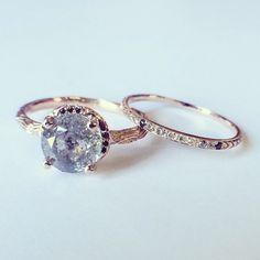 A rad wedding & engagement set. Custom 18k Rose Inigo and diamond gradient petite pave ring. Digby & Iona NY