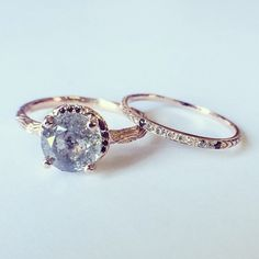 A rad wedding & engagement set. Custom 18k Rose Inigo and diamond gradient petite pave ring. Digby & Iona NY