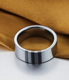 High Polished Tungsten Ring with White & Black Ceramic Stripes Inlay | Tungsten Carbide Rings 24HOUR SHIPPING