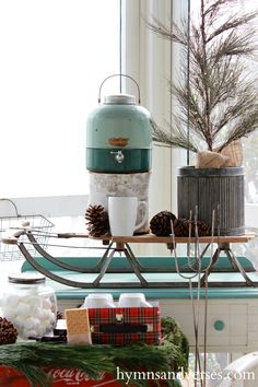 Fabulous Vintage Sled and Thermos Outdoor Hot Cocoa & S'more Bar in Aqua Hymns and Verses /doreencagno/ Cozy Christmas, All Things Christmas, Beautiful Christmas, Holiday Fun, Vintage Christmas, Christmas Holidays, Christmas Crafts, Xmas, Winter Holiday