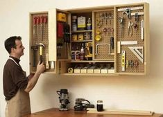 Shop-in-a-box tool cabinet Woodworking Plan from WOOD Magazine Woodworking For Kids, Woodworking Jigs, Woodworking Projects, Woodworking Classes, Wood Projects, Woodworking Machinery, Woodworking Patterns, Popular Woodworking, Woodworking Furniture