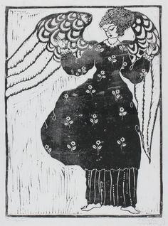 Dagobert Peche, woodcut, engel