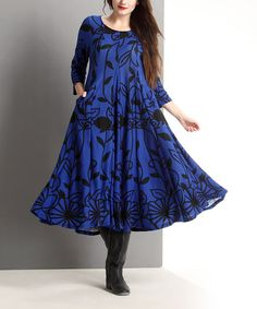 Blue Floral A-Line Midi Dress - Plus #zulily #zulilyfinds