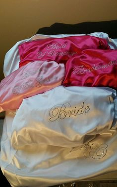 SHIPPED IN Set of 5 or 6 Rhinestone Personalized Bridesmaid Robes Silk satin Wedding Gift dressing Gown Pink Fushcia White Mint Blue. Bridesmaid Robes, Be My Bridesmaid, Wedding Anniversary Gifts, Wedding Gifts, Wedding Styles, Wedding Ideas, Bridal Party Robes, Save The Date Magnets, Mint Blue
