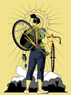 True to self Bycicle Illustration, Bycicle Art