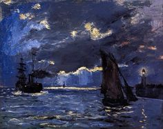 CLAUDE MONET (1840-1926) A Seascape, Shipping by Moonlight, 1864 Oil on canvas, 60 x 73.8 cm. National Galleries of Scotland, Edinburgh, UK.