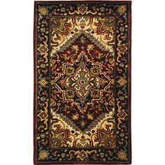 Safavieh Classic Collection CL225A Handmade Traditional Oriental Multicolored and Red Wool Area Rug (3' x 5')