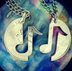 Music Note Necklace set for couples, You Make My Heart Sing relationship set…