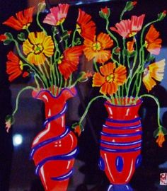 Still Life with Red Vases by  Greg Irvine.  Gouache  (Australia)