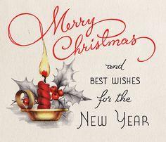Merry Christmas - Inside Vintage Christmas Card