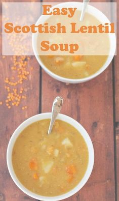 Easy Scottish Lentil Soup- Easy Scottish lentil soup is the authentic healthy red lentil soup from Scotland. This simple soup is filling, comforting and perfect for cold weather days! Lentil Soup Recipes, Red Lentil Soup, Healthy Lentil Soup, Easy Healthy Recipes, Gourmet Recipes, Cooking Recipes, Cooking Ideas, Healthy Meals, Healthy Food