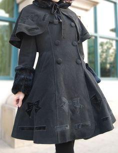 Lolita Cloak Coat Black Mint Collar Bownot Pattern Flannel  http://www.myesoul.com/black-mint-collar-bownot-pattern-flannel-lolita-cloak-coat_d50165.html