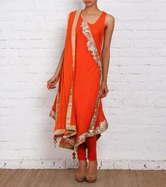 Orange Embroidered Georgette Anarkali Suit