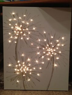 How cool! This could be dandelions or fireworks! A simple art project that you can have fun with. Adding the LED Blinkies really added a special touch. #FBL has the light up arts and crafts to make this a reality! http://www.flashingblinkylights.com/light-up-products/craft-lights/blinkies-round-leds.html