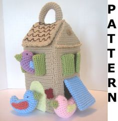 This crochet pattern is for a crocheted birdhouse with three birds. The finished birdhouse is approx. 5.5 square and 11 tall (not including