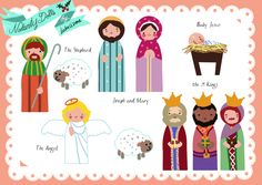 FREE Paper Doll Nativity Printables - Print on magnetic paper and use on a cookie sheet.  Love it.