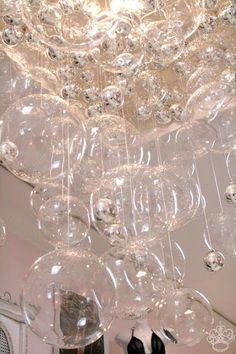 Bubble Chandelier DIY...glass CB2 balls, silver Christmas ornaments,grid panel, etc....