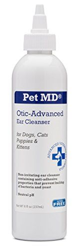 Dog Ear Care - Pet MD  Otic Advanced Cat  Dog Ear Cleaner  Effective Against Otitis Externa Ear Infections Caused by Mites Yeast Itching  Odor  Apple Kiwi Scent  8oz ** You can find out more details at the link of the image. (This is an Amazon affiliate link)