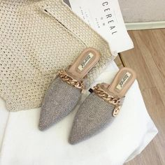 Fashion Slides, Fashion Flats, Womens Slippers, Womens Flats, Mules Shoes Flat, Winter Shoes For Women, Womens Flip Flops, Silver Shoes, Trendy Shoes