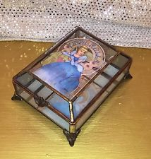 Cinderella Art Nouveau Glass Jewelry Trinket Box The Art of The Disney Princess