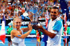Daria Gavrilova and Nick Kygios of Team Australia   Hopman Cup 2016 Champions