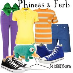 Phineas & Ferb, created by lalakay on Polyvore. This is amazing.