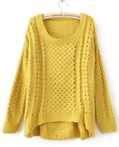 Yellow Round Neck Broken Stripe Cable Sweater | Live Fashionably ...
