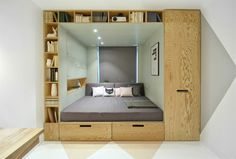 A Cozy And Stylish Bedroom With A Multifunctional Built-In Bed And Storage Area Small Space Living, Small Rooms, Small Apartments, Small Spaces, Small Beds, Bed Design, House Design, Flat Design, Creative Beds