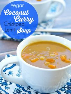 This Crockpot Vegan Coconut Curry Chickpea Lentil Soup is the easiest soup to…