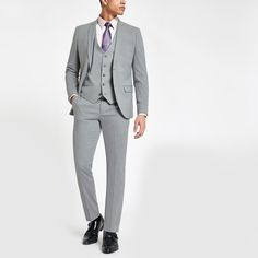 Shop our new Light grey stretch skinny fit suit trousers at River Island today. Order now for Free Click & Collect and Delivery (Ts&Cs apply). Mens Suit Trousers, Trouser Suits, Suit Jacket, Suit Pants, Best Mens Fashion, Mens Fashion Suits, Mens Suits, Skinny Fit Suits, Swim Shorts