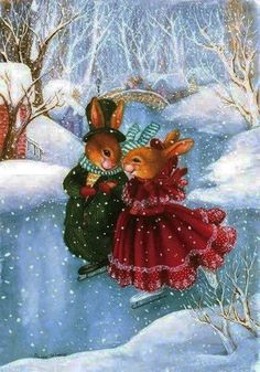 Holly Pond Hill illustration by Susan Wheeler - Christmas on ice Susan Wheeler, Illustration Noel, Christmas Illustration, Illustrations, Rabbit Illustration, Illustration Artists, Christmas Scenes, Christmas Pictures, Christmas Art