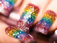 Cool rainbow glitter nail design