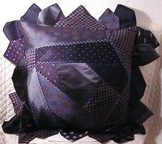 Tie One On! Upcycled and Repurposed Neckties - Crazy quilt style necktie pillow with DIY instructions from Carol Sews - mens men's gentlemens gentlemen's neckties ties neck-ties refashion upcycle recycle clothing clothes