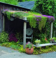 Green roof garden house - Exterior in green - Garden Design Ideas Unique Garden, Garden Art, Garden Modern, Garden Sheds, Jardin Decor, The Secret Garden, Ice Plant, Living Roofs, Living Walls