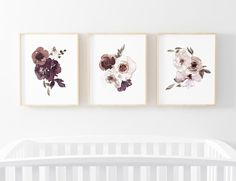 Demi's Dusty Purple Floral Bundled Digital Nursery Wall Art | Caden Lane Rose Nursery, Flower Nursery, Nursery Inspiration, Nursery Ideas, Girl Nursery Themes, Purple Nursery Decor, Nursery Nook, Floral Crib Sheet, Nursery Artwork