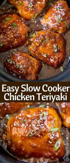 Slow Cooker Teriyaki Chicken made with a handful of ingredients has amazing flavors of ginger, garlic that will make your kitchen smell amazing. (slow cooker recipes with chicken) Slow Cooked Meals, Crock Pot Slow Cooker, Crock Pot Cooking, Pressure Cooker Recipes, Cooking Recipes, Crockpot Recipes, Chicken Recipes, Cooking Pork, Freezer Cooking
