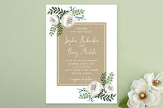 Krafted Florals Wedding Invitations by Lehan Veenker at minted.com