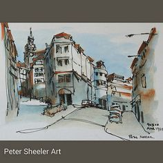 15 Minute sketch. Painted on location, looking up Rua de Mouzinho da Silveira . #town #urban #buildings #landscape #street #art #artist #original #watercolor #watercolour #painting #paintingaday #penandink #waterbrush #pleinaire #urbansketch #urbansketche