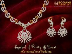 Symbol of Purity & Trust. Sogani handcrafted 18 kt gold necklace with stunning diamonds and ruby stones. Visit : www.soganijewellers4u.com for handcrafted bridal jewellery. #goldjewellery #diamondjewellery #indianbride #goldnecklace #diamondnecklace #contemporarystyle #bridalstyle #soganijewellers #weddinglook #bridallook #weddingjewelley #bridaljewellery #handcrafted #jewellery #greatindianweddings #bridalfashion #luxurybrand #lifestyle #luxurystyle #craftsmanship #jewellerygram…