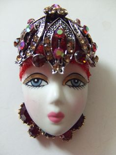 LADY HEAD FACE BROOCH PIN-BISQUE-Silver Dome Red-Rhinestones OOAK HANDCRAFTED   #PinBrooch