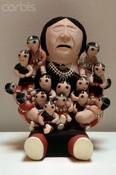 Many small figures nestle in the arms of a larger doll, known as a storytelling doll. Artist: PLM Quintana (Cochiti Pueblo, New Mexico).