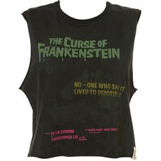 Frankenstein Crop Top ($24) ❤ liked on Polyvore featuring tops, shirts, crop tops, tank tops, crop, cut-out crop tops, cotton crop top, shirt tops, cotton shirts and crop top
