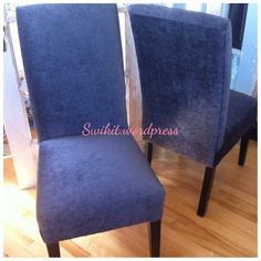How to upholster parson's chairs tutorial. I want to find 4 chairs like this to reupholster to match our dining room. Dining Room Chair Cushions, Slipcovers For Chairs, Upholstered Dining Chairs, Recover Chairs, Furniture Slipcovers, Swivel Chair, Chair Tips, Diy Chair, Reupholster Furniture