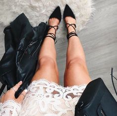 lace + leather #stevemadden