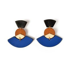These geometric shaped drop earrings feature color contrast for an extra statement! Handmade leather Post backing Blue Earrings, Leather Earrings, Leather Jewelry, Statement Earrings, Drop Earrings, Brass Jewelry, Jewelry Accessories, Wooden Jewelry, Geometric Jewelry