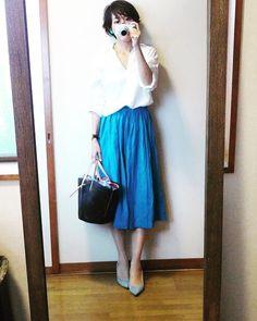 ターコイズブルーとホワイトの爽やか大人コーデと渋谷の虹 7月31日  #今日のコーデ #今日の服 #今日のコーディネート #ママコーデ #ママコーディネート #ワーキングママ #ママファッション #大人カジュアル #大人コーデ