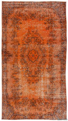 Turkish Vintage Rug Created By First Neutralizing The Colors And Then Over Dying To Orange Achieve A Contemporary Effect Bring Old Hand Made Rugs