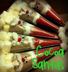 DIY Homemade Gifts for Christmas - Cocoa Santas - Click pic for 25 DIY Christmas Gifts Very clever cocoa santas!